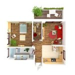 32513337 - plan view of an apartment:  kitchen, dining, living, bedroom, hall, bathroom.